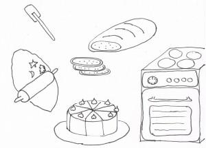 Plätzchen, Brot und Torten werden gebacken.