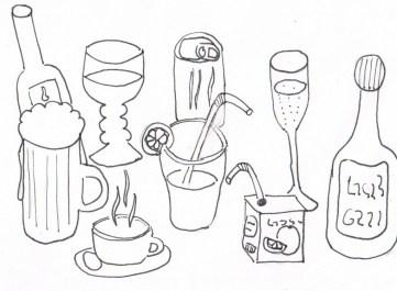 verschiedene Getränke in verschiedenen Gefäßen