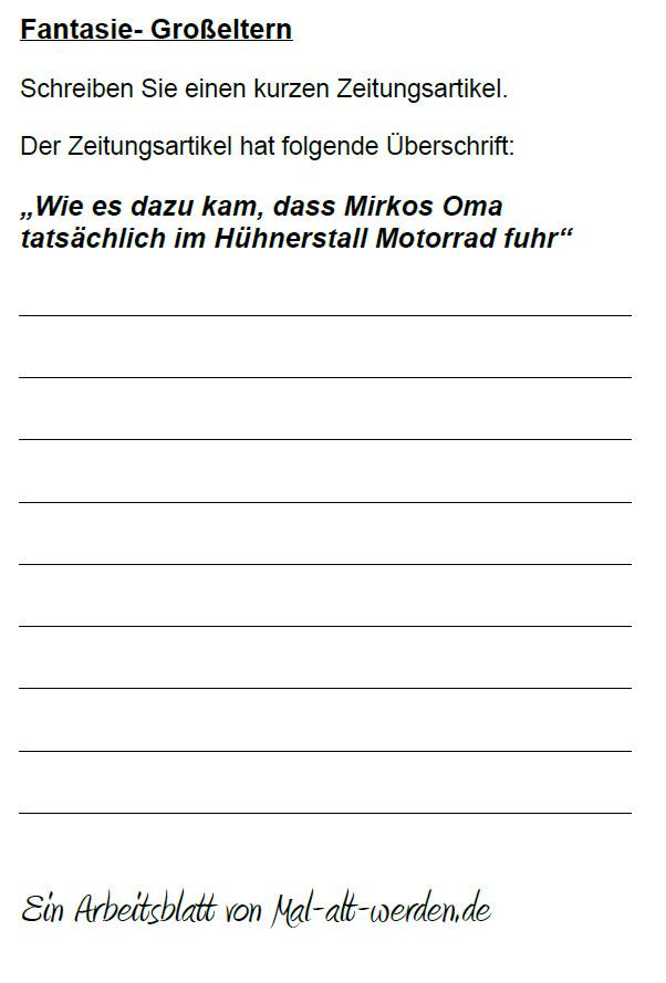"""Arbeitsblatt- """"Fantasie"""" zum Thema Großeltern als PDF"""