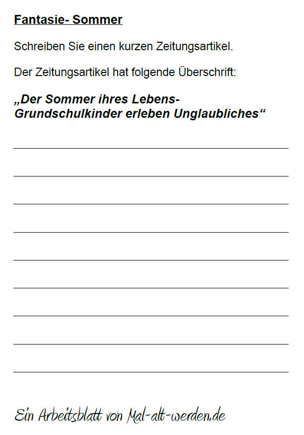 "Arbeitsblatt- ""Fantasie"" zum Thema Sommer"
