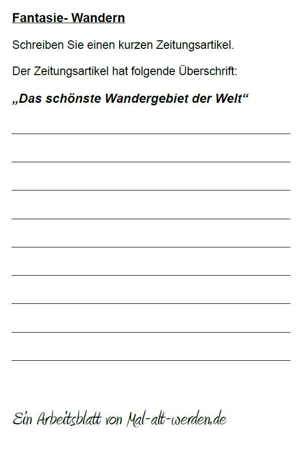 """Arbeitsblatt- """"Fantasie"""" zum Thema Wandern"""