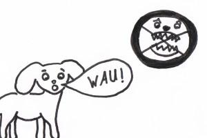 Hunde die bellen beißen nicht als Bilderrätsel