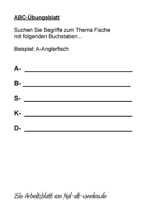 ABC- Übungsblatt Fische