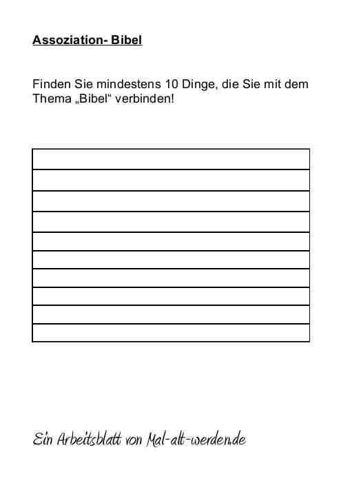"Arbeitsblatt- ""Assoziation"" zum Thema Bibel als PDF"