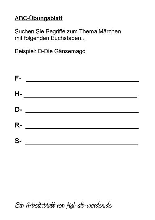 Arbeitsblatt Berufe Abc : Ein abc Übungsblatt für senioren mit dem thema märchen