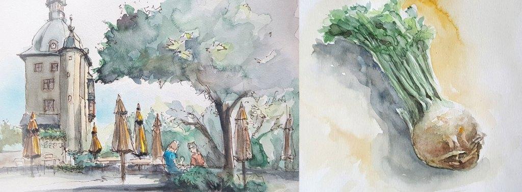 Kleine-Malerei-Aquarellierte-Skizzen- Taek-Bong Kim