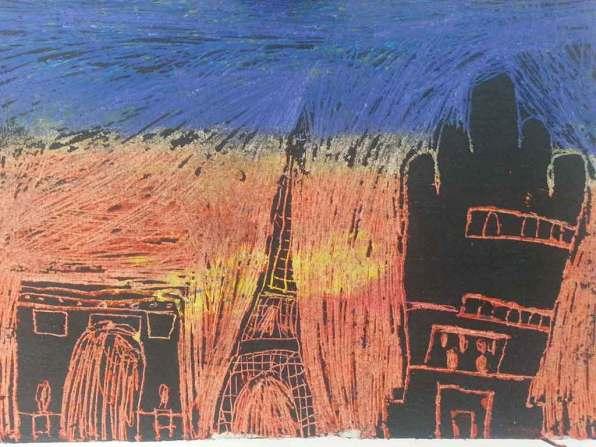 Sgraffito, Mia 7 Jahre, mal-atelier, Galerie TRIGON 2015