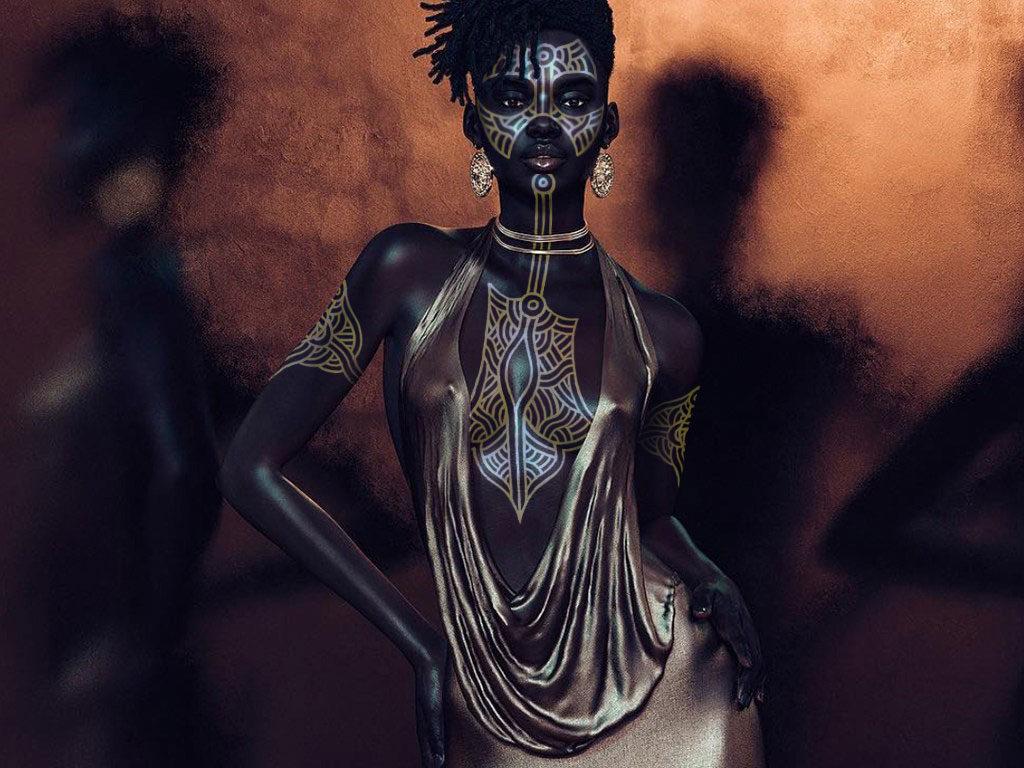 Shudu body painted by Serge Kponton