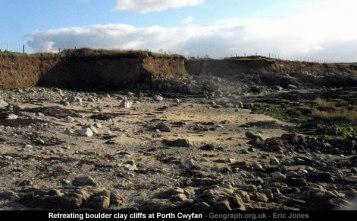 Retreating boulder clay cliffs at Porth Cwyfan