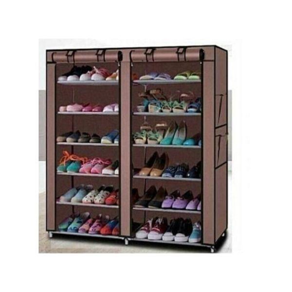 36-pair metallic portable shoe rack