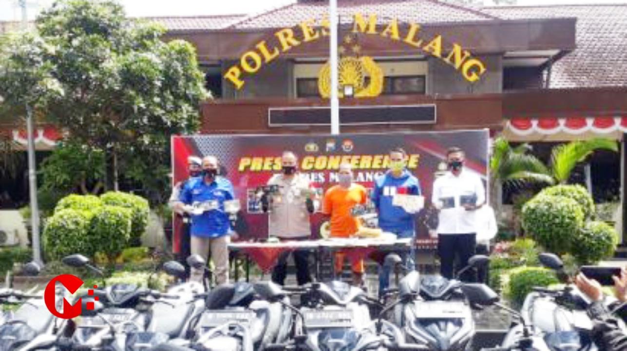 Foto : Kapolres Malang saat rilis tersangka pemalsuan noka dan nosin