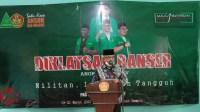 Foto : Bupati Mlaang, HM Sanusi saat menyampaikan sambutan dan membuka kegiatan Diklatsar banser