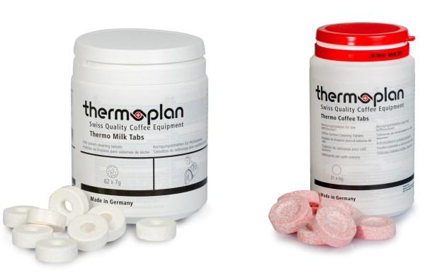 Thermoplan Quartal Set für Black&White 4 und 4c Kaffeevollautomaten. Dosen mit Milk tabs und Coffee tabs