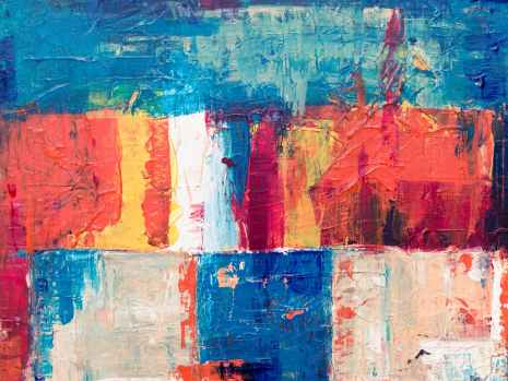 red blue and white abstract painting