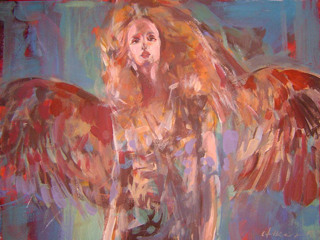 Kolorowy anioł 100a, akryl, gwasz na kartonie