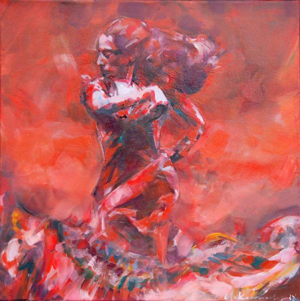 Czerwona tancerka 167a, olej na płótnie