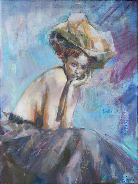 Dziewczyna w kapeluszu 090316, olej na płótnie 30x40cm
