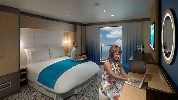 Agora todos os quartos do Quantum of the Seas possuem vista, com a introdução das fantásticas cabines com a Varanda virtual. Este conceito de design fornece varandas virtuais nas cabines internas, oferecendo uma ampla vista em tempo real do oceano e de destinos fascinantes.
