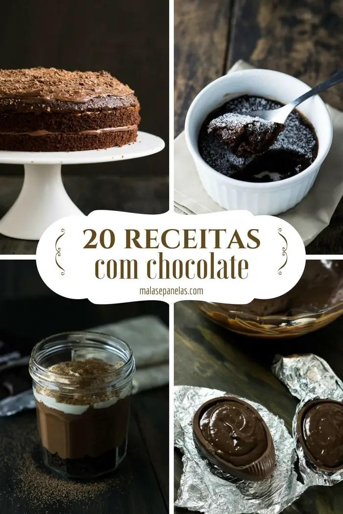20 Receitas com Chocolate | Malas e Panelas