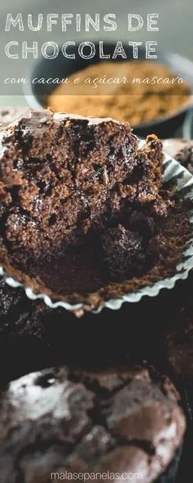 Muffins de Chocolate com Cacau e Açúcar Mascavo   Malas e Panelas