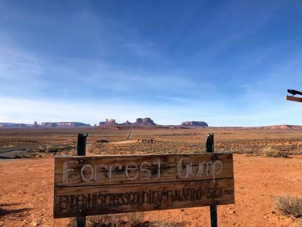 Placa Forrest Gump Monument Valley