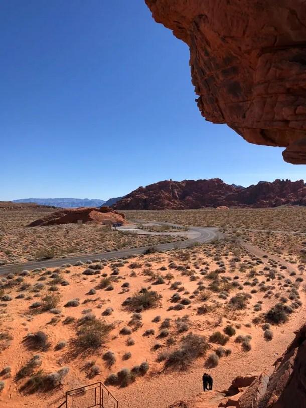 Vista do topo da escada da Atlatl Rock