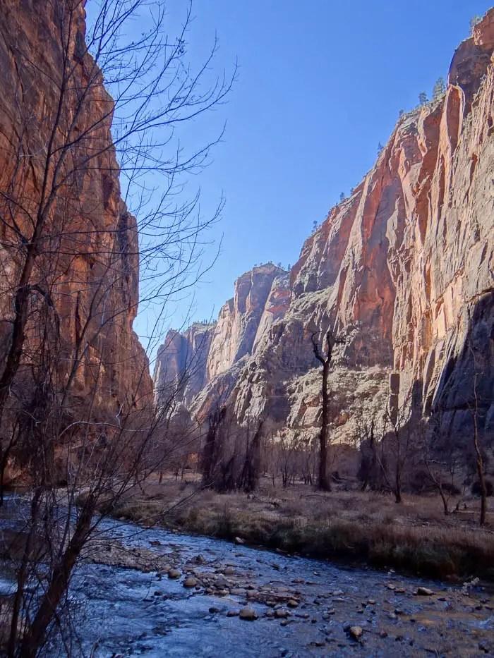 Parque nacional de Zion em Janeiro