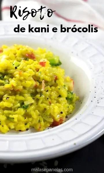 Risoto de kani e brócolis #receita #risoto #arroz #kani