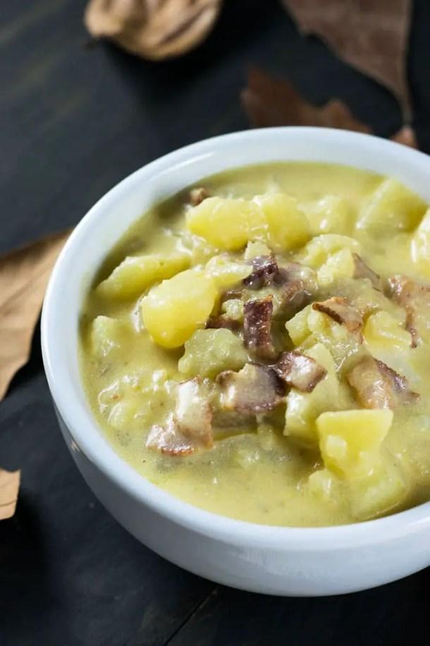 Sopa cremosa de Batata e Bacon | Malas e Panelas