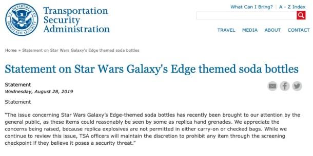 comunicado TSA sobre garrafas Star Wars galaxy's edge