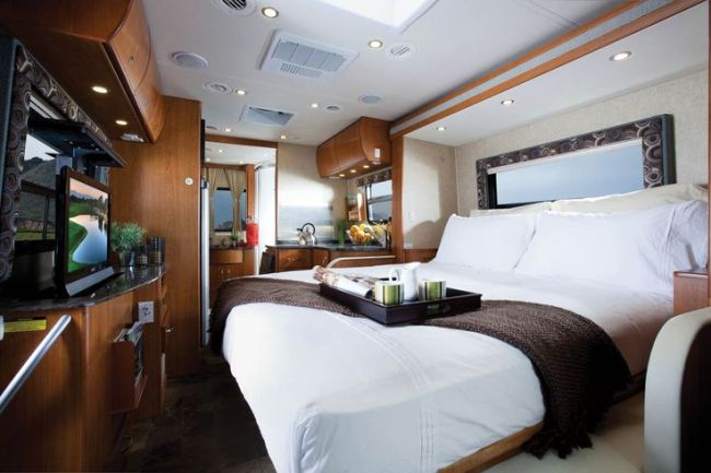 The presidential motorhome has a bed for the ageing president