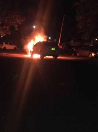 Jessie Kabwila vehicle up in flames (7)