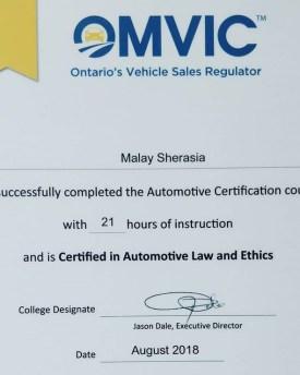 omvic licence malay sherasia
