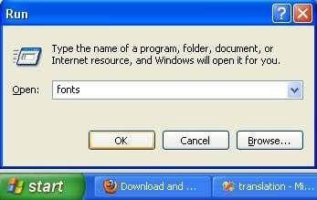 Open fonts folder