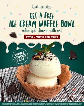 Italiannies Free Ice Cream Waffle Bowl semasa anda menjamu selera