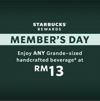 Starbucks sebarang minuman buatan tangan bersaiz Grande pada harga RM13