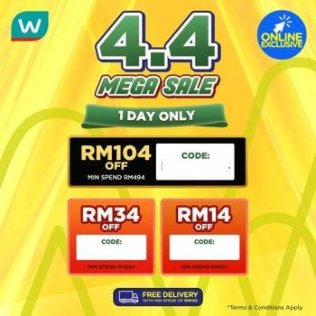 Watsons 4.4 Kod Promosi Jualan Mega Diskaun Sehingga RM104
