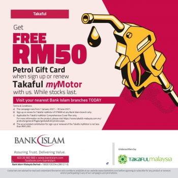 Kad hadiah petrol RM50 percuma dengan Takaful myMotor
