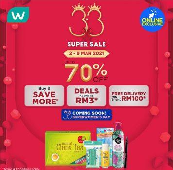 Watsons 33 Super Sale Diskaun 70%
