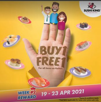 Sushi King membeli 1 promosi 1 percuma untuk semua item di kaiten