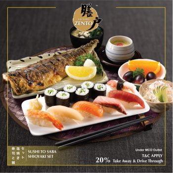 Sushi Zento Makanan Tambahan 20% OFf untuk Pergi & Memandu Melalui Pesanan
