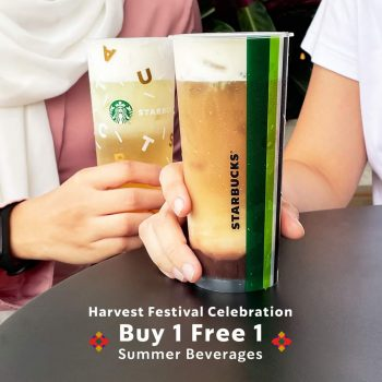 Minuman Starbucks Summer membeli 1 promosi 1 Free Harvest Festival