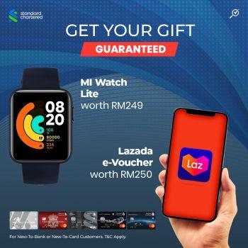 Lazada RM250 e-Voucher / Mi Watch Lite percuma dengan Kad Kredit Standard Chartered