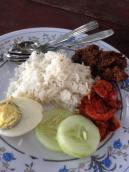 カンポン・クアラリンギで食べたナシレマ。ナシレマの基本の具はきゅうり、揚げた煮干し、サンバル、ピーナッツゆで卵。卵が目玉焼きときもあるが、ナオさんはゆで卵押し