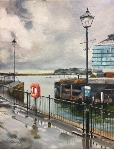 Oil Painting of Cardiff Docks