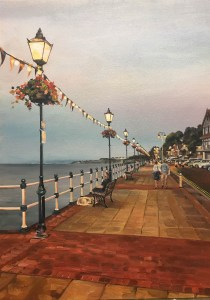 early evening penarth oil painting