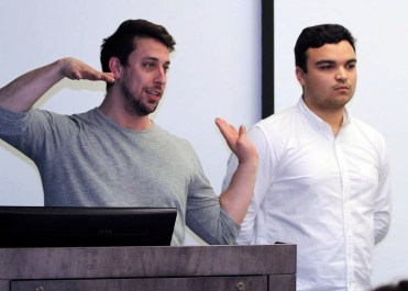 David Ligon and Daniel Delgado explain their research for an advertising they have been working on for a project they've been working on this semester.