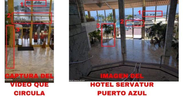 Comparación de un fragmento del vídeo y una foto del interior del hotel.