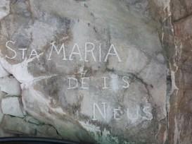 Inscripció a la paret a la capella de Santa Maria de les Neus a la Renclusa
