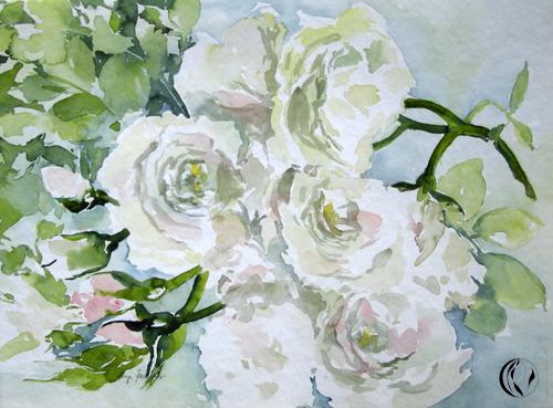 weie Rosen  Malen am Meer